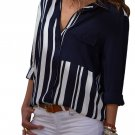 Dark Blue Colorblock Long Sleeve One Pocket Shirt
