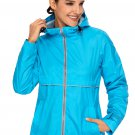 Turquoise Women Zipper Lapel Suit Blazer with Foldable Sleeve