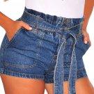 Blue Paper Bag Waist Buttoned Denim Shorts