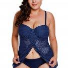 Navy Blue Lace Flyaway Underwired Plus Size Tankini Bathing Suit