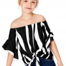 Black Off The Shoulder Vertical Stripes Toddlers Blouse