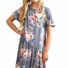 Gray Girls Floral Print Dress