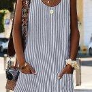 Black Boho Crew Neck Pockets Daily Striped Shift Dress