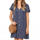 Blue Polka Dot V Neck Button Down Ruffles Short T-Shirt Dress