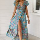 Sky Blue V-Neck Beach Resort Printed Dress