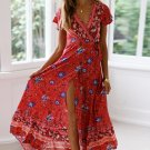 Red V-Neck Beach Resort Printed Dress