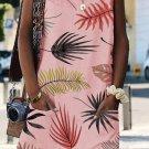 Pink Bohemian Printed Drawstring Sleeveless Dress