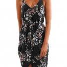 Black Deep V Neck Summer Floral Print Dress