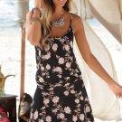 Black Blooming Flower Print Summer Slip Dress