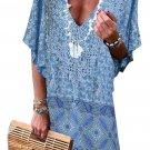 Sky Blue Floral Tassel Printed Casual Summer Dress