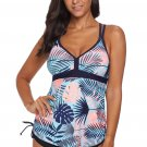 Blue Tropical Print Cut out Tankini Swimsuit