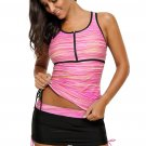 Pink Filtered Stripe Mesh Racherback Tankini Swimsuit