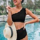 Black High Waist Scalloped Trim One Shoulder Bikini