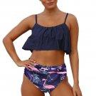 Blue Ruffle Top High Waist Bottom Bikini Swimsuit