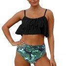 Black Ruffle Top High Waist Bottom Bikini Swimsuit