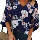 Blue 3/4 Flared Sleeve Floral Blouse