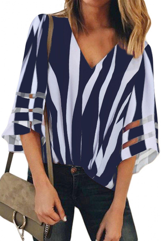 Blue 3/4 Bell Sleeve V Neck Lace Patchwork Shirt