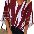 Red 3/4 Bell Sleeve V Neck Lace Patchwork Shirt