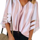 Pink 3/4 Bell Sleeve V Neck Lace Patchwork Shirt