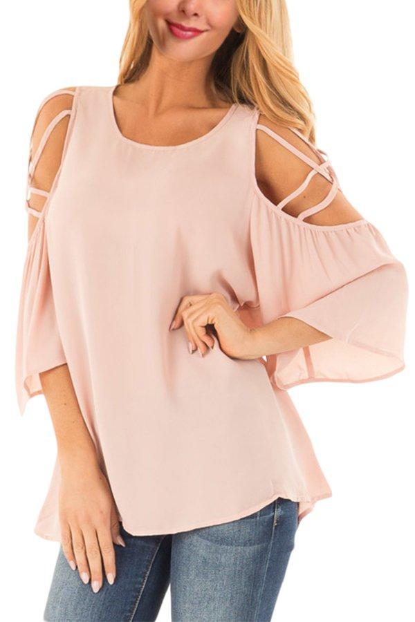 Pink Cold Shoulder Blouse with Strap Details