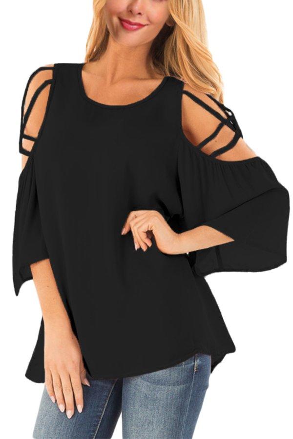Black Cold Shoulder Blouse with Strap Details