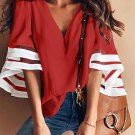 Red Contrast Color Flare Sleeve V Neck Loose Blouse
