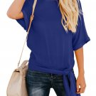 Blue Short Sleeve Crew Neck Bow T-Shirt