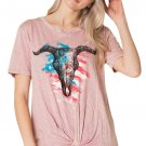 Pink American Bull Head Front Knot Graphic Top