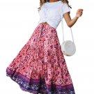 Purple Elastic Waist Floral Maxi Skirt
