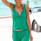 Solid Color Sleeveless Button Jumpsuit in Green