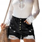 Black Hot Mama High Rise Distressed Denim Shorts