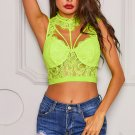 Yellow Lace Strappy Bustier Crop Top