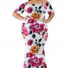 White California Poppy Mermaid Plus Size Dress
