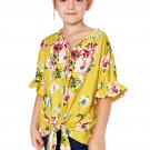 Yellow Floral Print Button Up Toddler Tunic