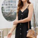 Black Buttoned Slip Dress