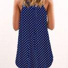 Mini Dresses Dot Print Blue Sleeveless Dress