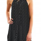 Mini Dresses Dot Print Black Sleeveless Dress