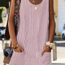 Pink Boho Crew Neck Pockets Daily Striped Shift Dress