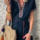 Blue Summer Boho Embroidered V Neck Short Sleeve Mini Dress