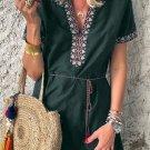 Green Summer Boho Embroidered V Neck Short Sleeve Mini Dress