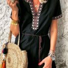 Black Summer Boho Embroidered V Neck Short Sleeve Mini Dress