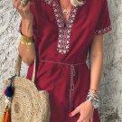 Red Summer Boho Embroidered V Neck Short Sleeve Mini Dress