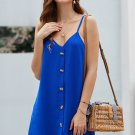 Mini Dresses Blue Buttoned Slip Dress