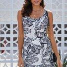 Black Leaf Pattern Ruffled Summer Boho Dress