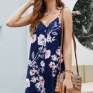 Blue Floral Pattern Buttoned Slip Cami Dress