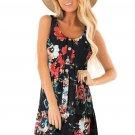 Black Floral Print Sleeveless Button up Dress