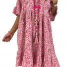 Rose Loose Scoop Neck Floral Dress