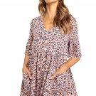 Pink Leopard Print V Neck Button Half Sleeves Swing Dress