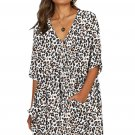 White Leopard Print V Neck Button Half Sleeves Swing Dress