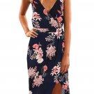 Blue Floral Print Boho Dress